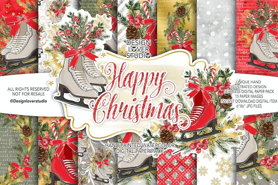 Skates Christmas digital paper pack