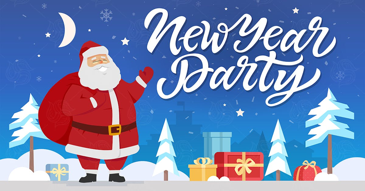 Download New Year party - cartoon characters illustration by BoykoPictures