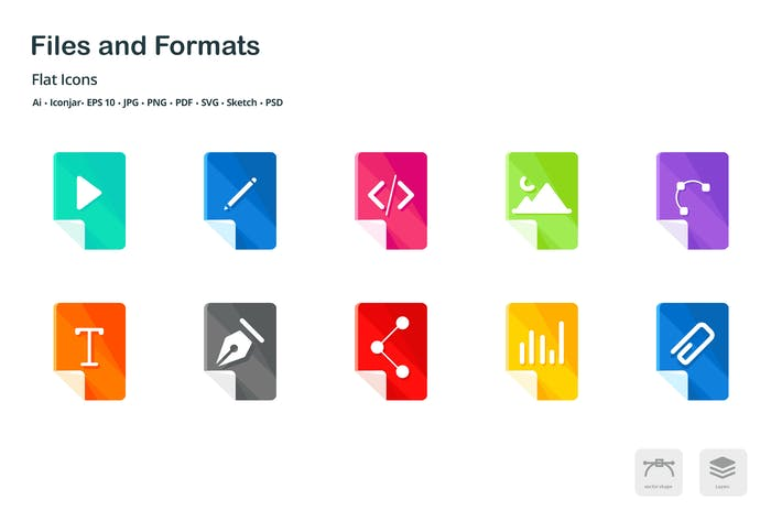 Thumbnail for Files and Formats Flat Colored Icons