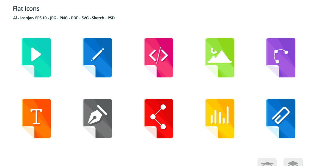 Download Files and Formats Flat Colored Icons by roundicons