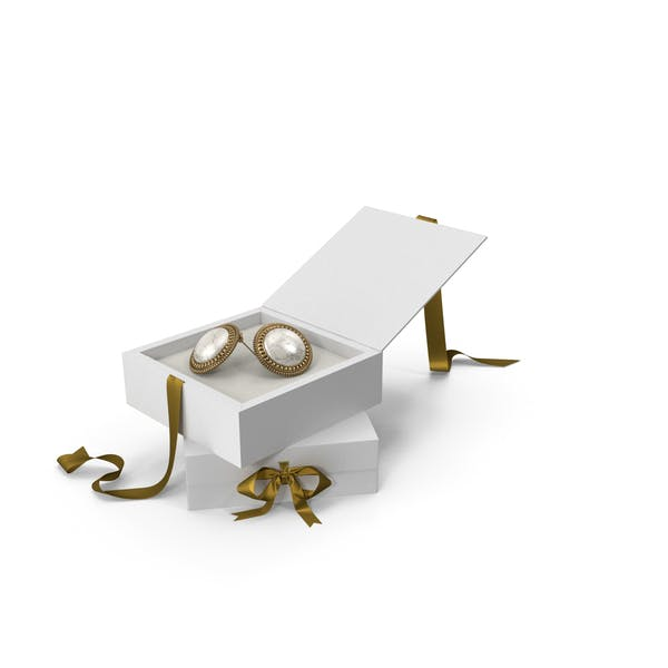 Earrings with Marble in a White Gift Box with Gold Ribbon