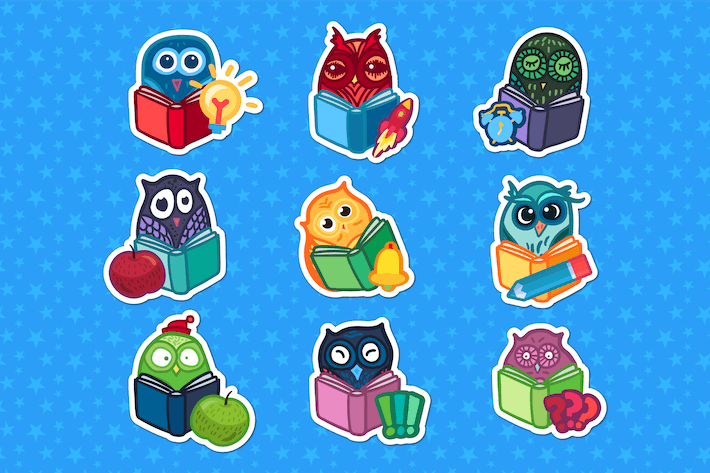 Thumbnail for School Owls Stickers Set
