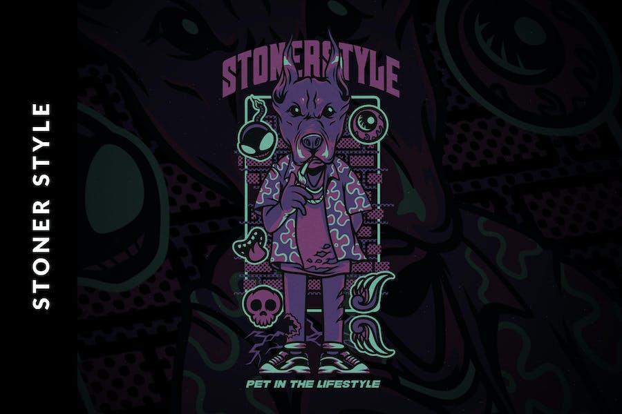 Иллюстрация стиля Stoner