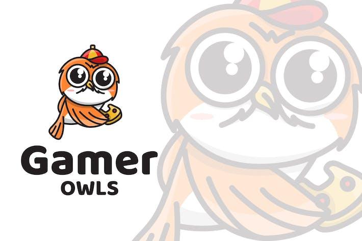Thumbnail for Gamer Owls Cute Logo Template
