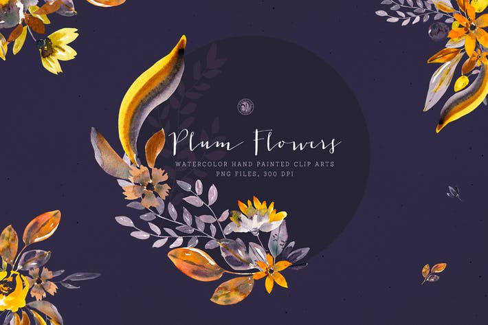 Thumbnail for Plum Watercolor Flowers