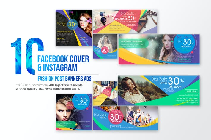 Thumbnail for 10 Couverture Facebook & 10 Instagram Fashion Post Bann