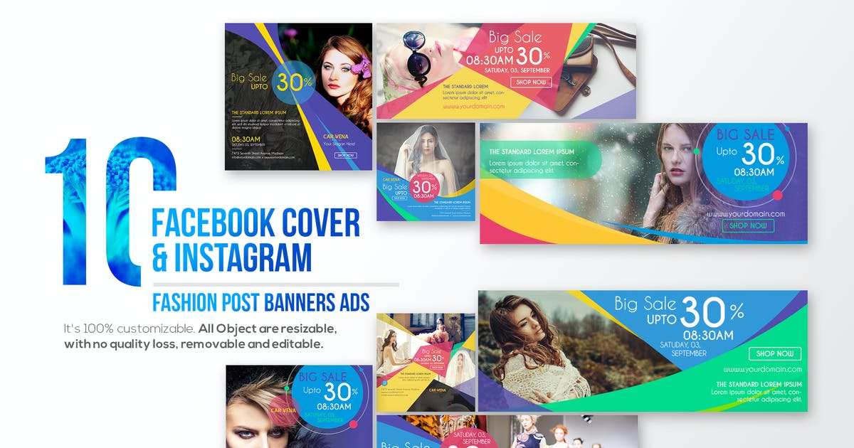 Download 10 Facebook Cover & 10 Instagram Fashion Post Bann by Wutip
