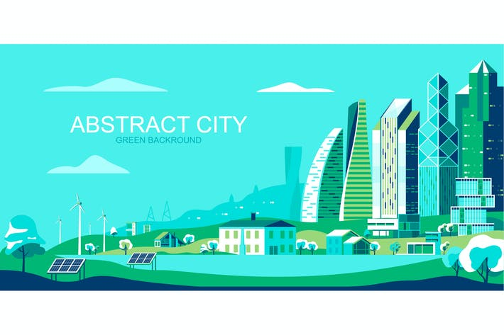 Thumbnail for Green City Vector Illustration Header Website