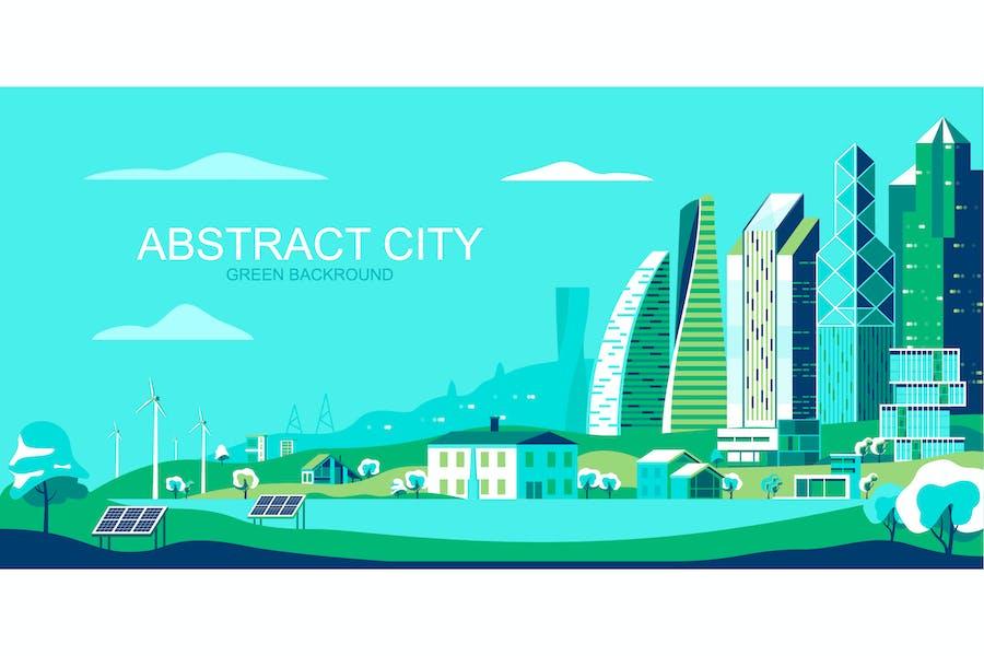 Green City Vektor Illustration Header Website