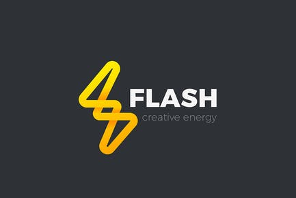 Flash Logo Energy Lighting Bolt