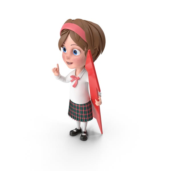 Cartoon Girl Holding Pointer