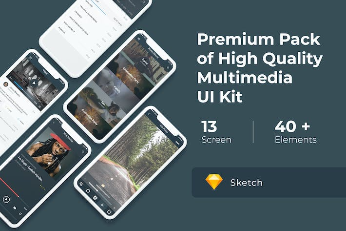 Cover Image For Multimedia and Entertaintment UI KIT for Sketch
