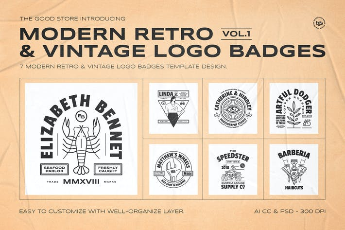 Thumbnail for Retro Logo Badges Set Vol.1