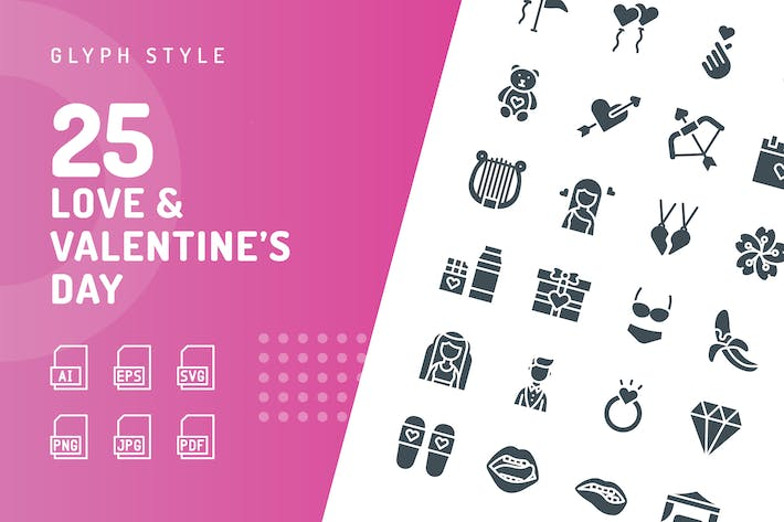 Thumbnail for Love & Valentine's Day Glyph Icons