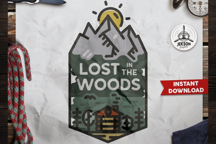 Thumbnail for Lost in Wood Badge / Vintage Travel Logo Patch SVG