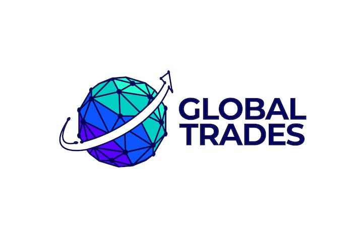 Modern Globe and Arrow Global Trading Logo