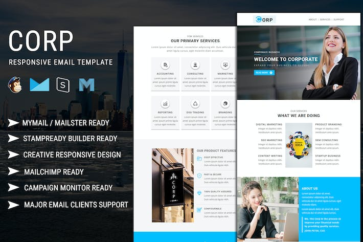 Thumbnail for Corp - Responsive Email Template