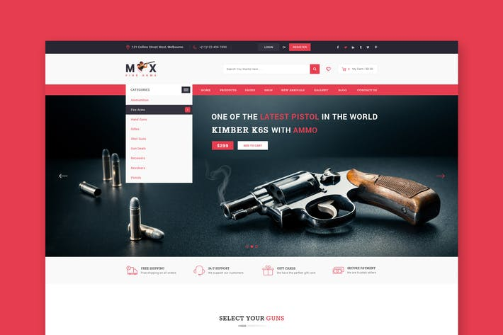 Thumbnail for Fire Arms Website PSD Template