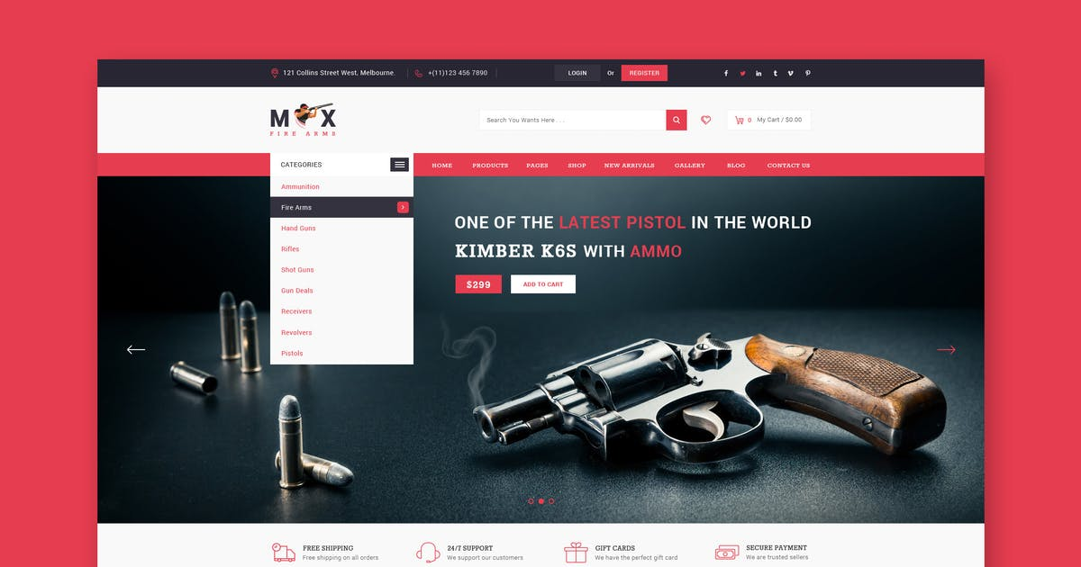 Fire Arms Website PSD Template by Unknow