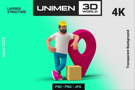 Delivery Man 3D with Package Geo Point Navigation