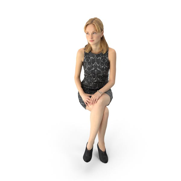 Business Woman Wearing Dress Sitting