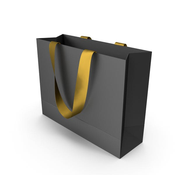 Thumbnail for Black Packaging Bag with Gold Tape Handles