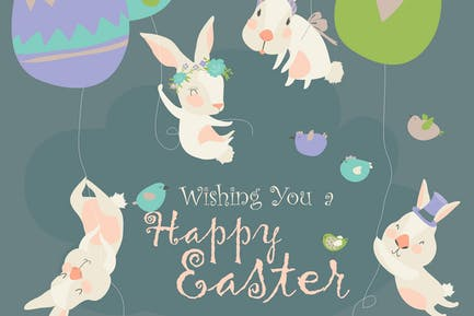 Easter bunnies and Easter eggs. Vector