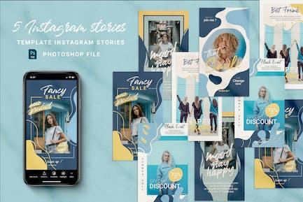 Blue Instagram Stories