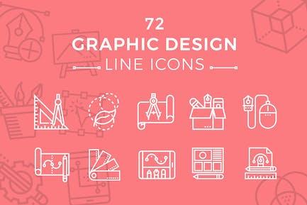 Íconos de línea de diseño gráfico