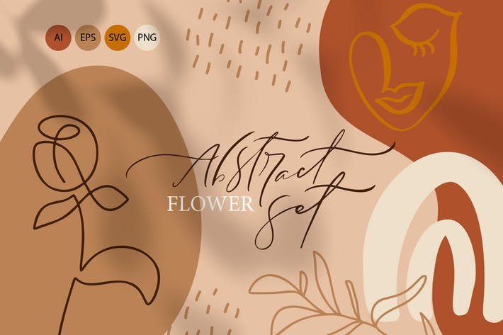 Thumbnail for Abstract flower set SVG