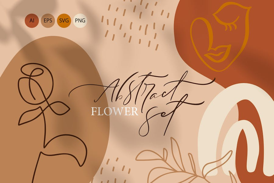 Abstract flower set SVG