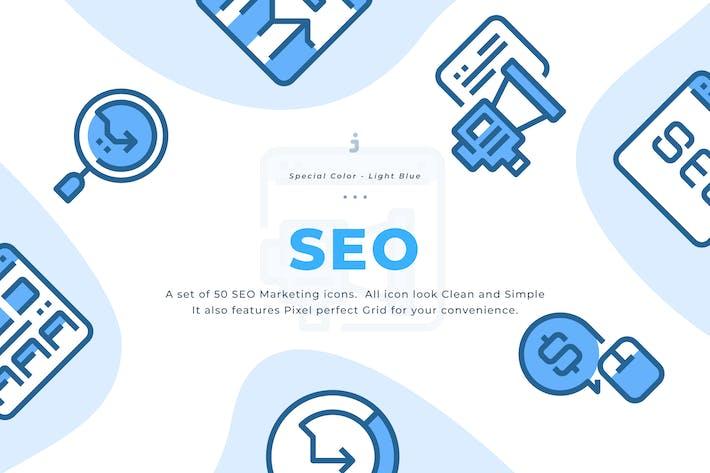 Thumbnail for 50 SEO Marketing Icons - Light Blue