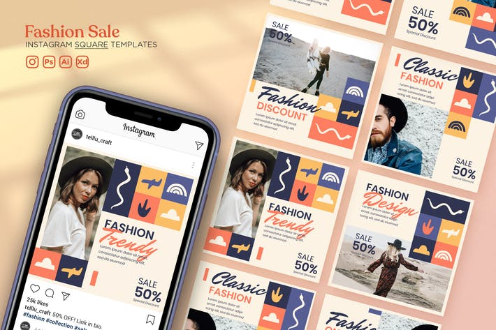 Thumbnail for Instagram Square Templates Vol.28 Fashion Sale