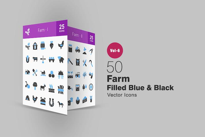 Thumbnail for 50 Farm Blue & Black Icons