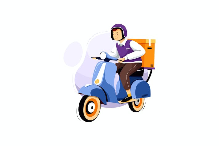 Thumbnail for Courier Service Motorbike Delivery Illustration