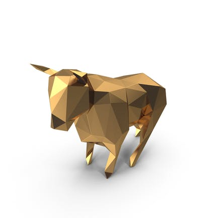 Low Poly Golden Bull