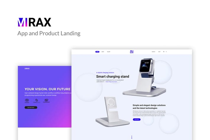 Thumbnail for Mirax - App & Product Landing Page PSD Template