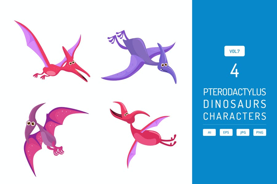 Cute Pterodactylus - Dinosaurs Character Vol.7