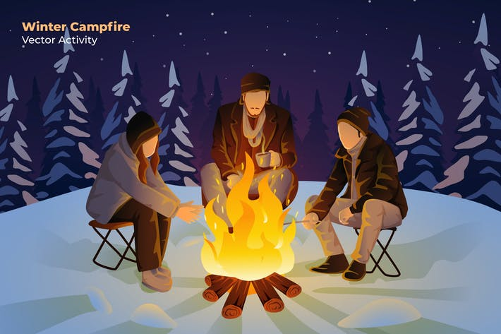 Thumbnail for Winter Campfire - Vector Illustration