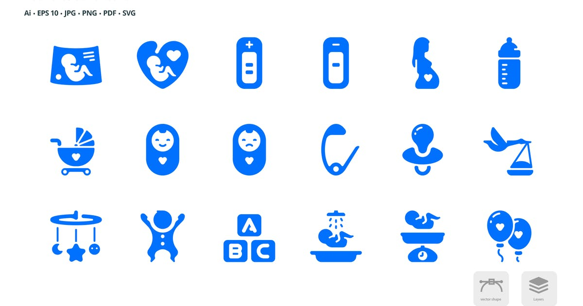 Download Maternity and Childcare Roundies Solid Glyph Icons by roundicons