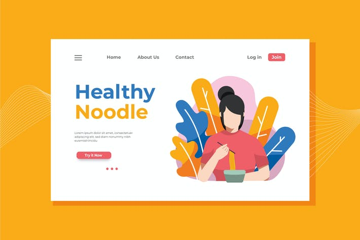 Thumbnail for Healthy Noodle Landing Page Illustration