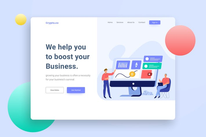 Thumbnail for Cryptocurrency Website Header Illustration