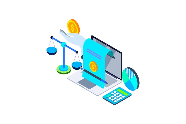 Thumbnail for Digital Accounting Isometric Illustration