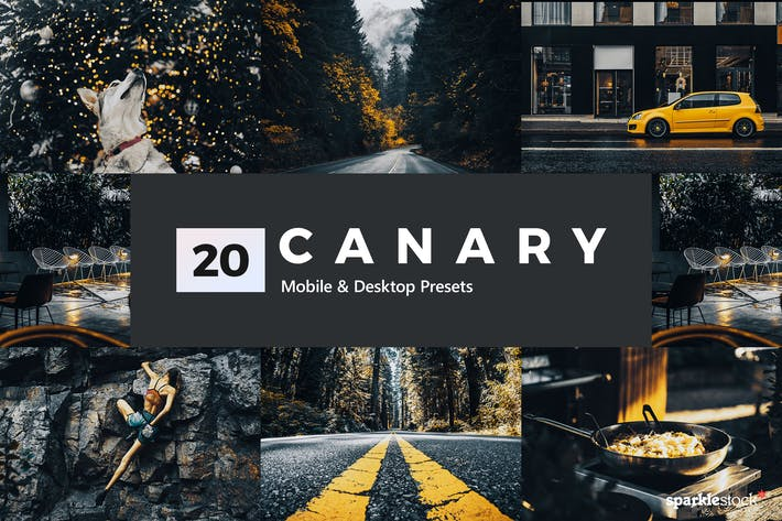 Thumbnail for 20 presets y LUTs de Lightroom amarillo canario