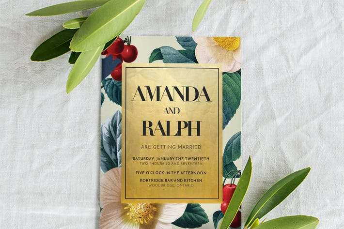 Thumbnail for Invitación de Boda oro y flores