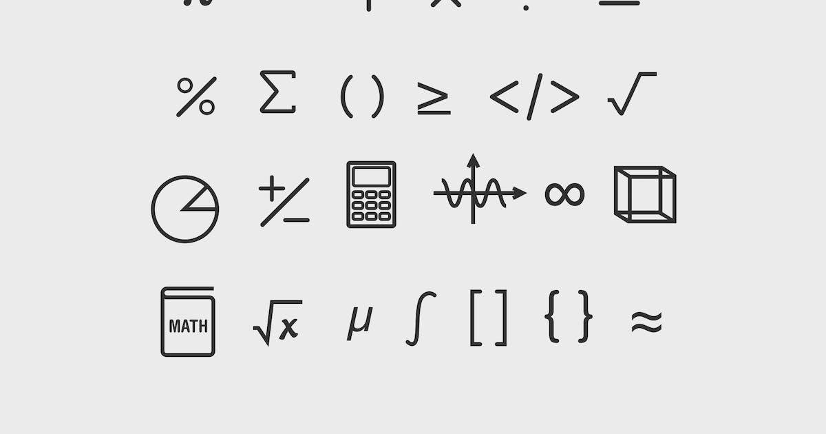 25 Math Symbol Icons by creativevip on Envato Elements