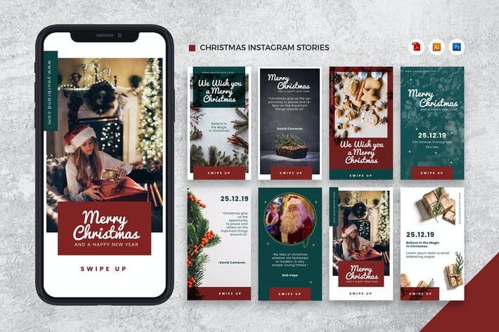 Merry Christmas Instagram Stories AI and PSD