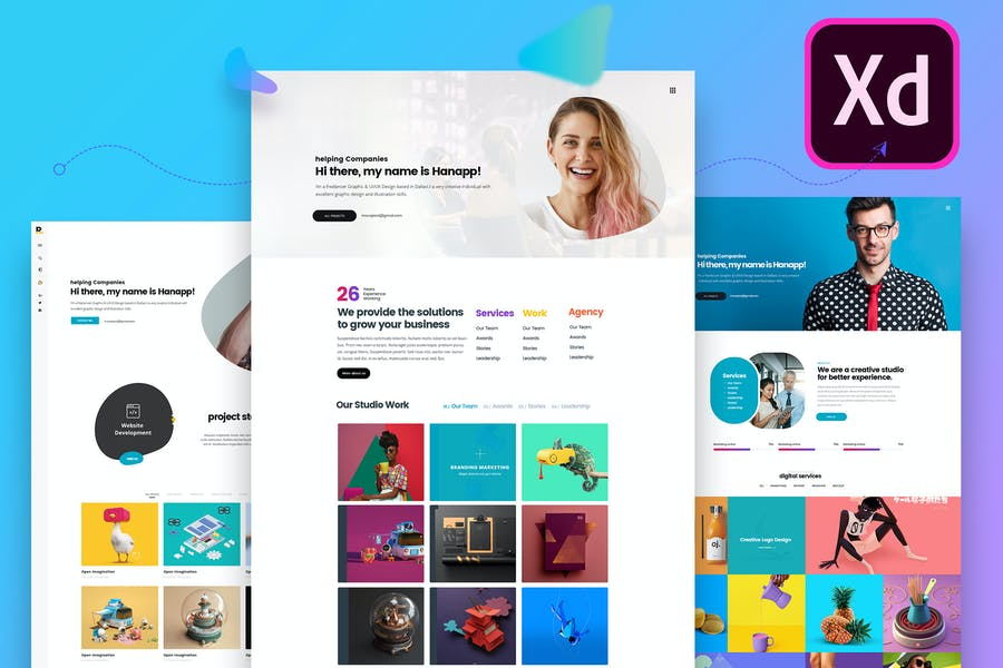 Creative Multiple Resume Website Adobe XD Template
