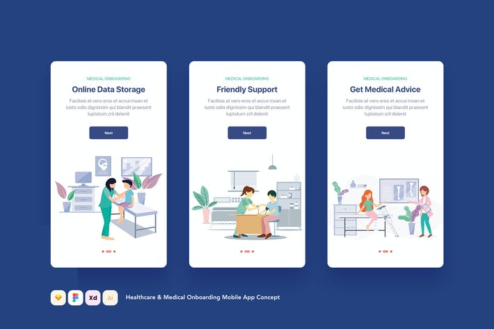 Thumbnail for Healthcare & Medical Onboarding Mobile App Concept