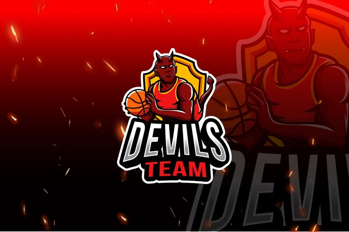 Thumbnail for Devils Basket Team Esport Logo Template